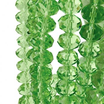 72 pcs x 8mm Glass Rondelle Faceted Light Green 013